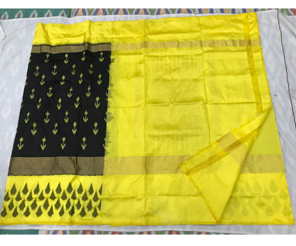 New Collection Ikkat Black and Yellow Saree