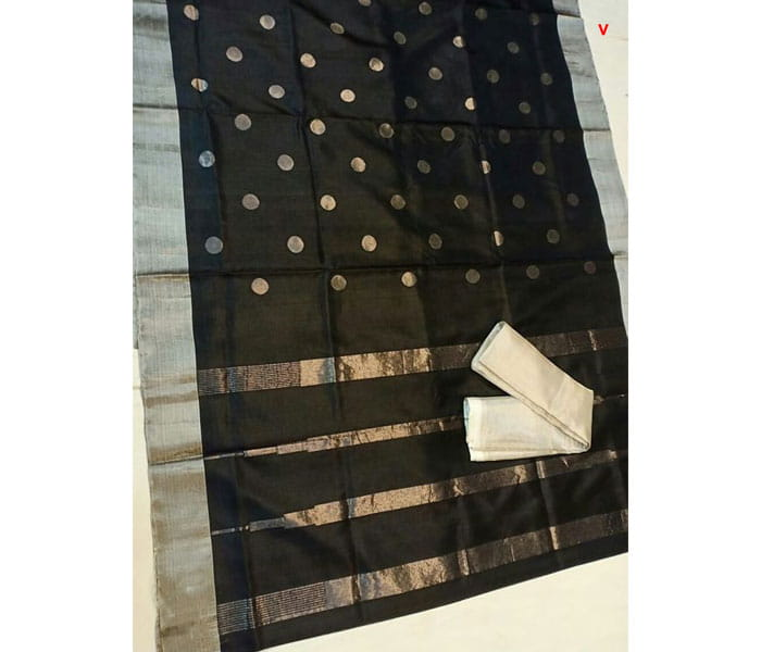 Black Color Dots Design Pure Uppada Jamadhani Butta Saree