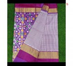 Violet Checks Pure Ikkat Silk Saree
