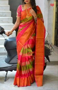 Uppada Silk and Zari Stripes Design Saree Pink, Green and Gold