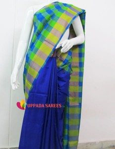 Uppada Checks Blue and Parrot Green Color Saree