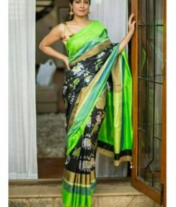 Pochampally Ikkat Black Color Saree