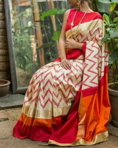 Pochampally Ikkat Half White Saree