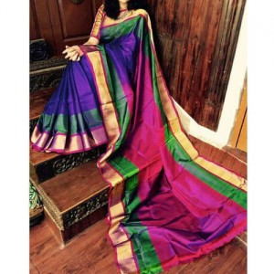 Uppada Double Border Plain Saree Blue Color