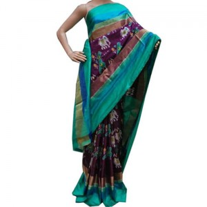 Pochampally Ikat Dark Lavender Color Saree