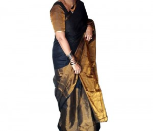 Half Tissue Black Color Saree