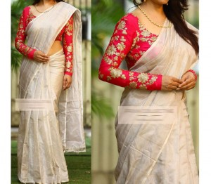 Light Silver Plain Tissue Saree