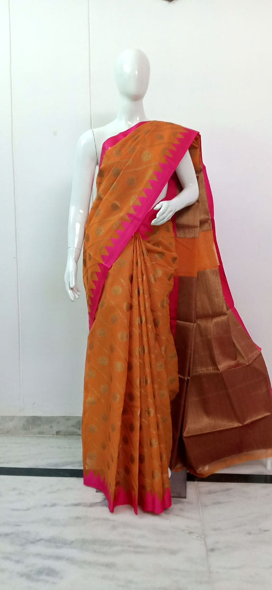 Trendy Kora Muslin Saree Orange Color