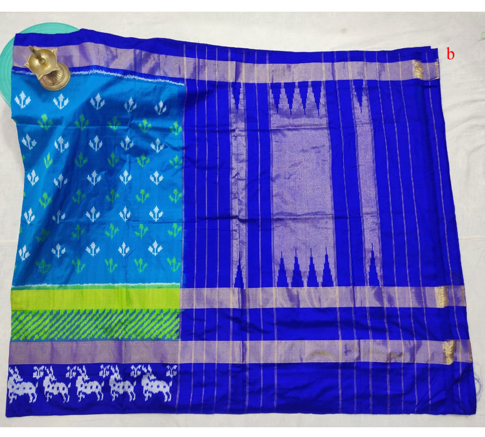 Ananda Blue Color Ikkat Saree Latest
