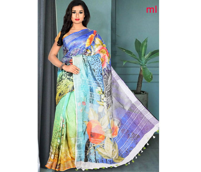 Ananda Blue Digital Print Lenin Saree