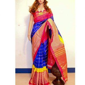 Color Designer pochampally ikat blue color designer saree uppadasarees.in