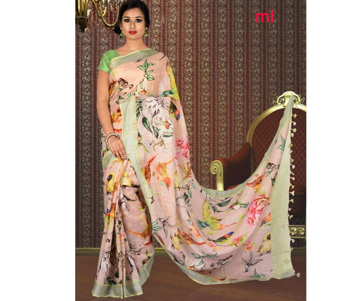 Cream Color Digital Print Lenin Saree