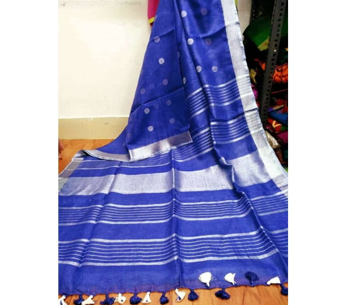 Blue Lenin Butta Design Saree