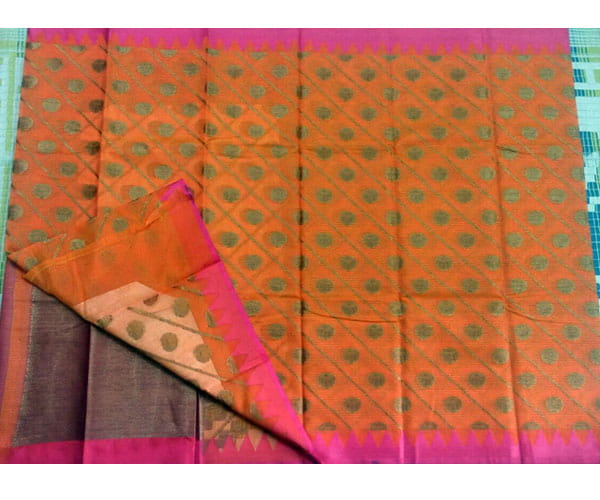 Pure Kora Muslin Saree Orange Color