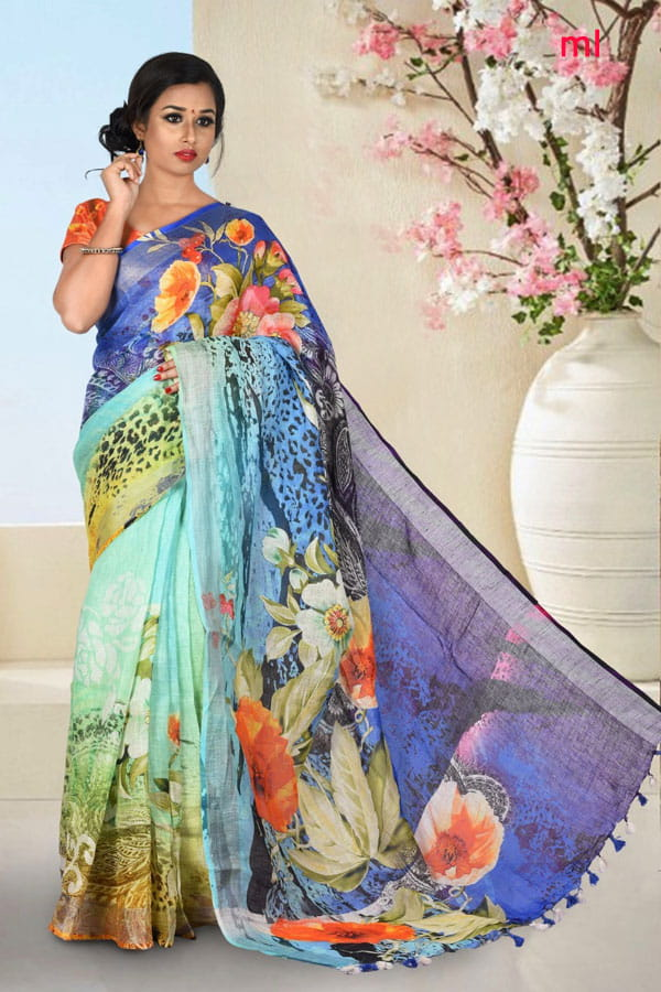 Ananda Blue Color Digital Print Lenin Sarees