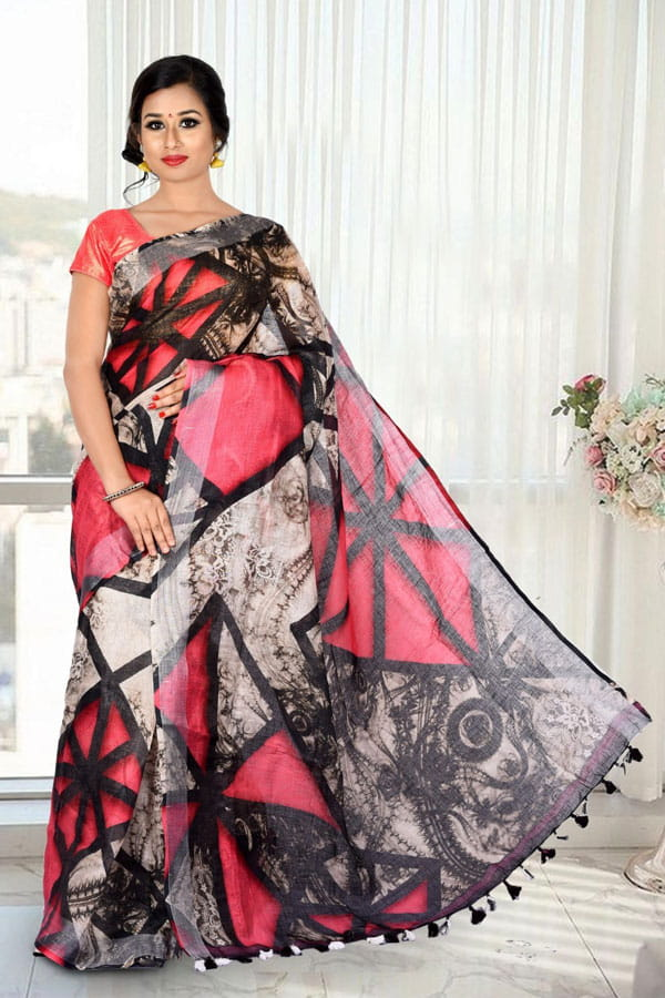 5d0d8c2f30d5 Buy Black Color Digital Print Lenin Sarees Online