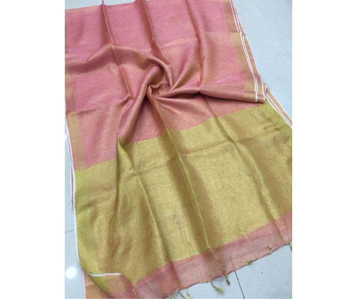 Lenin Tissue Saree Light Pink Shade