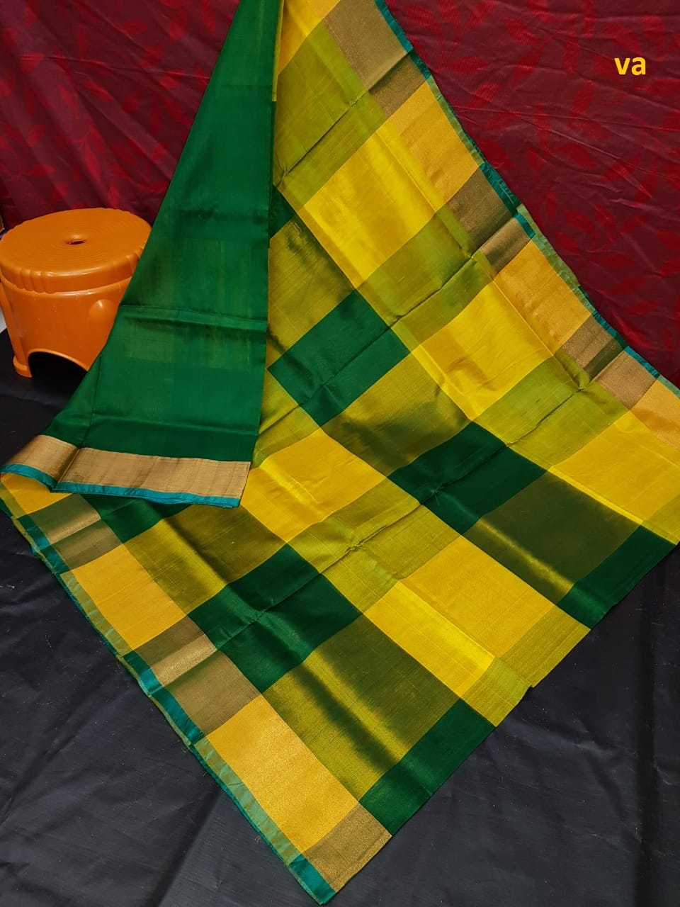 Uppada Big Checks Yellow and Bottle Green Saree