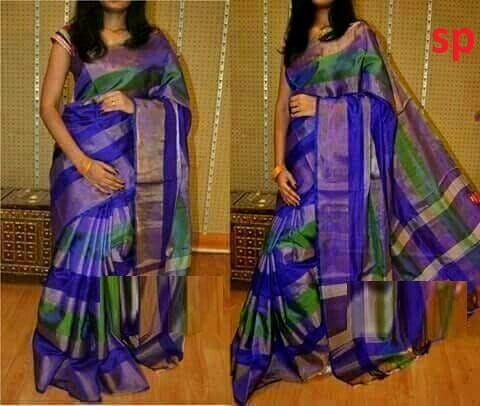 Uppada Silk and Zari Stripes Design Saree Blue, Green and Silver