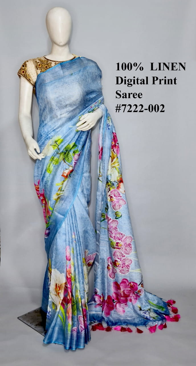 Light Blue Linen By Linen Jari Border Saree