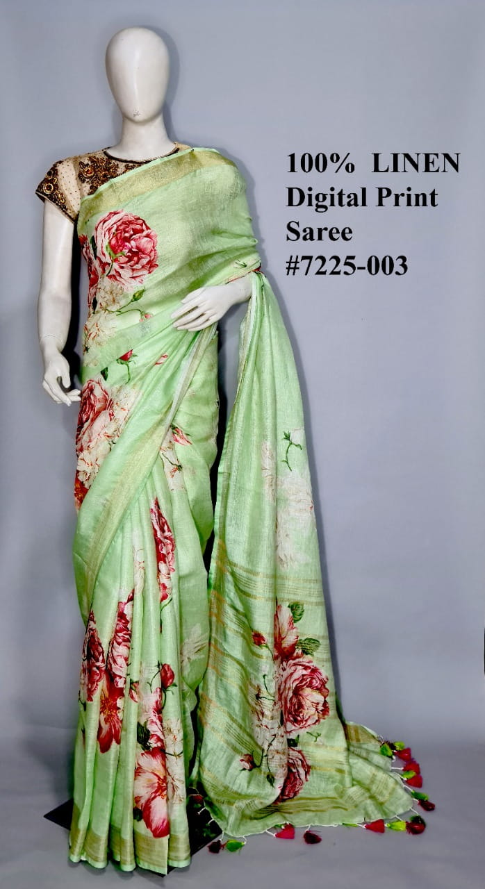 Light Green Color Linen By Linen Jari Border Saree