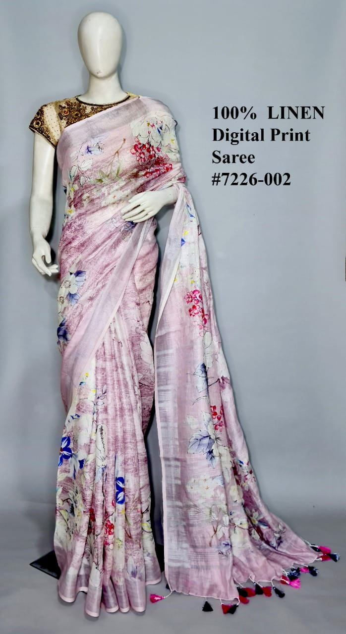 Light Pink Color Linen By Linen Jari Border Saree