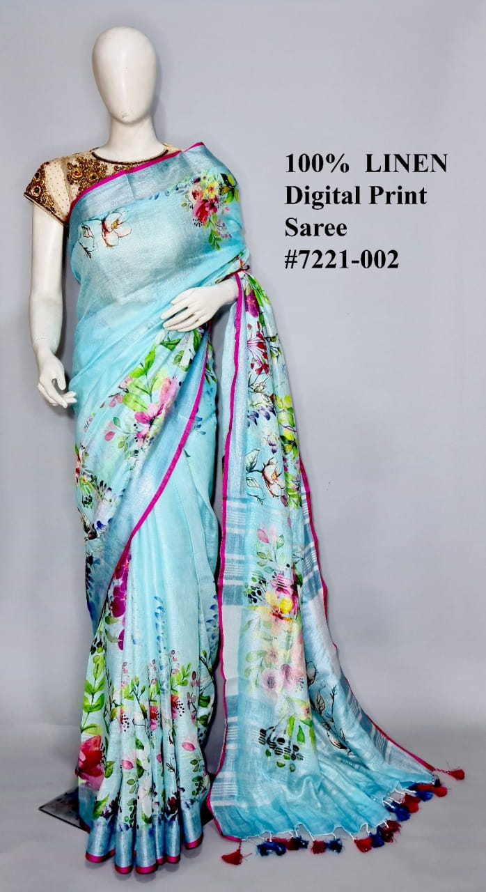 Light Sky Blue Color Linen By Linen Jari Border Saree