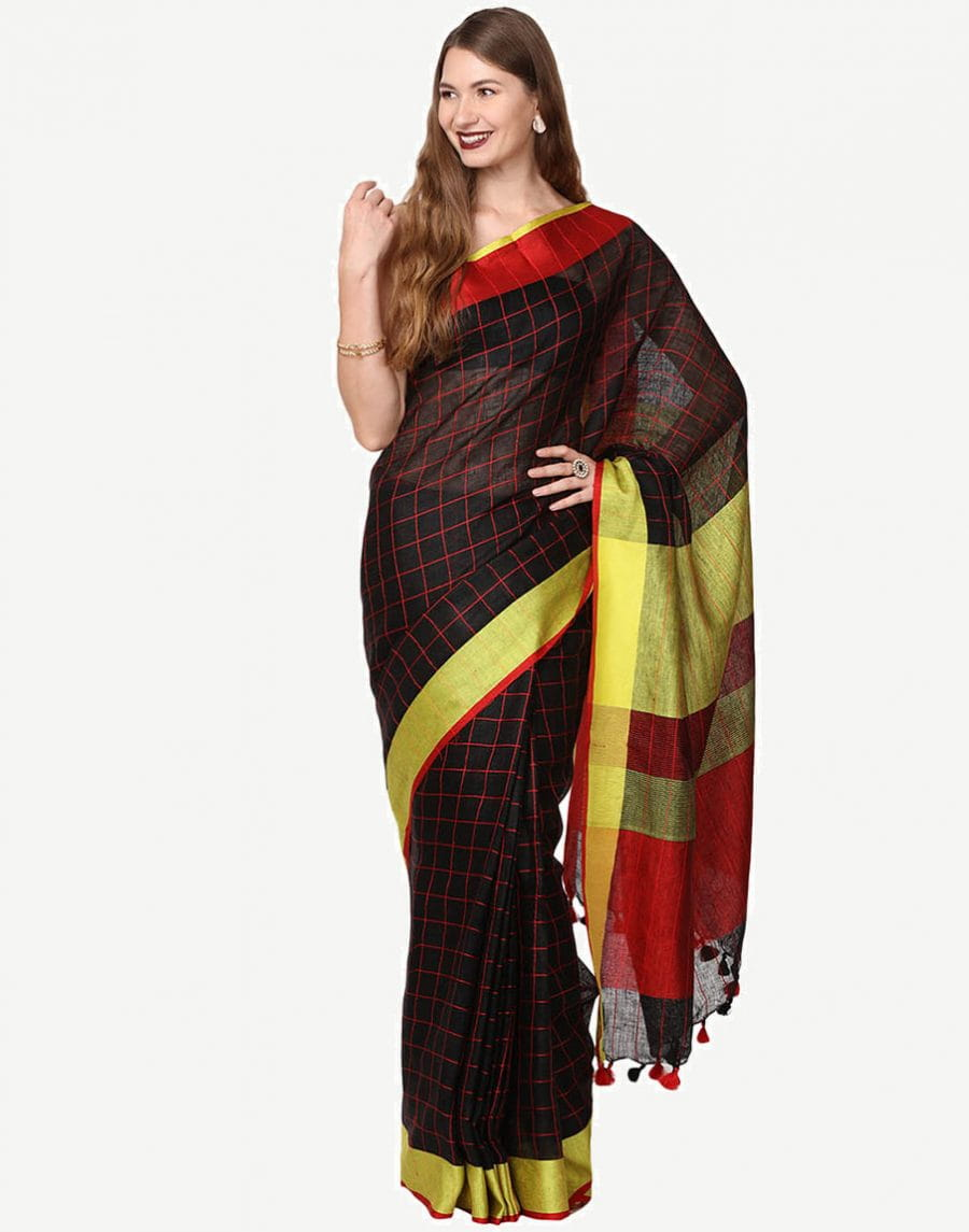 Pure Linen By Linen Jari Black With Checks Saree