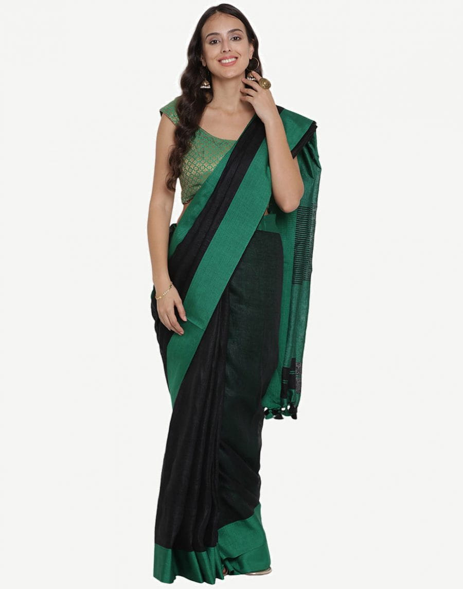 Pure Linen By Linen Jari Black Saree