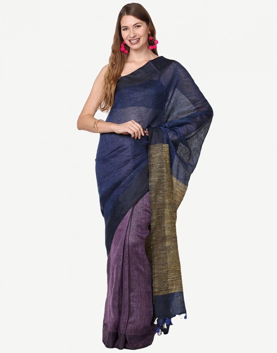 Pure Linen By Linen Jari Blue Saree