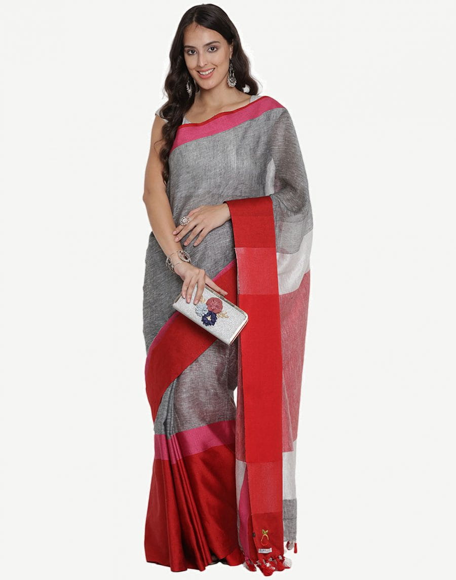 Pure Linen By Linen Jari Silver Saree