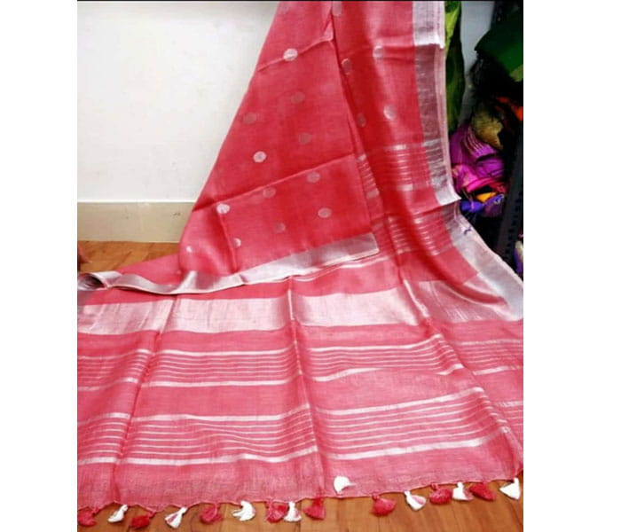 Pink Color Lenin Butta Design Saree
