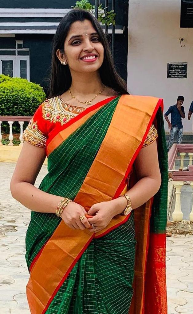 Chanderi Kuppadam Bottle Green Saree