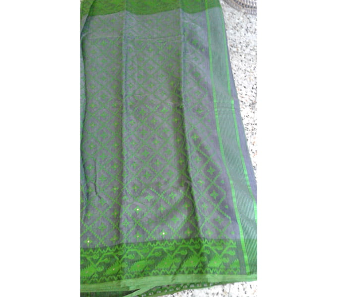 Pure Handwoven Grey Cotton Dhakai Saree