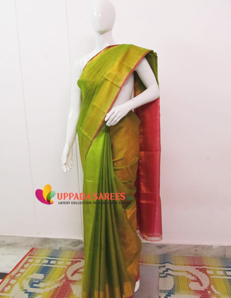 Light Green Shade Uppada Tissue Saree