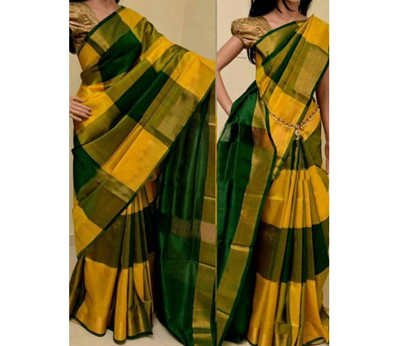 Uppada Pure Silk Big Check Saree Latest Design