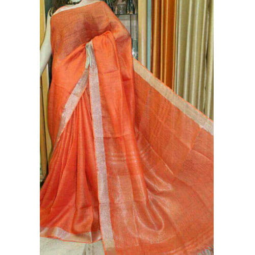 Lenin Orange Color Saree Silver Border