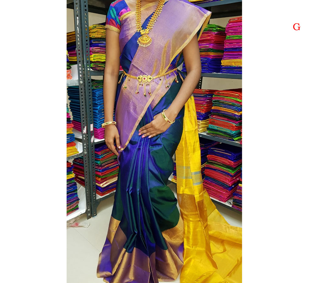 Big Border Uppada Pure Silk Saree Blue Color