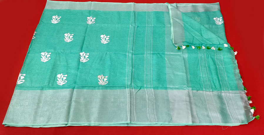 Linen By Linen Saree Sea Green Color