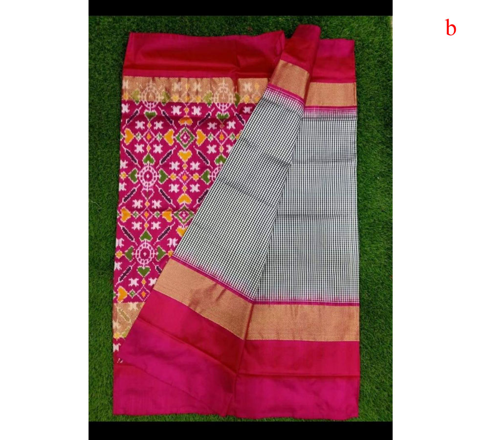 Black Checks Pure Ikkat Silk Saree