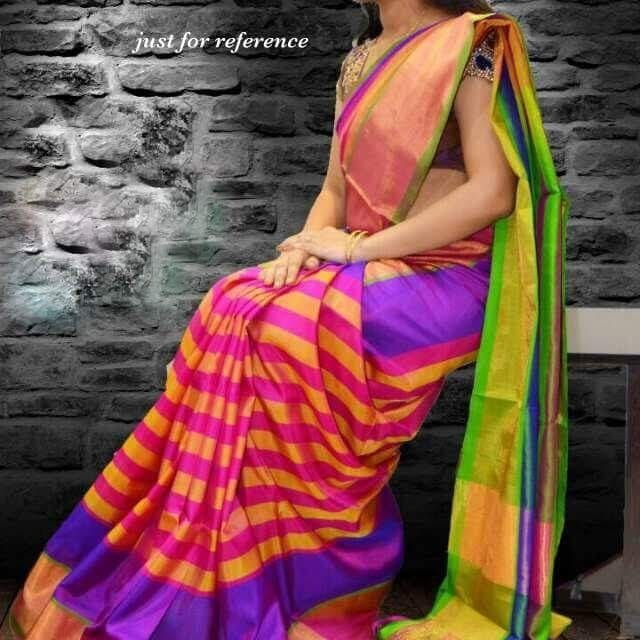 Uppada Stripes Saree Pink Stripes design