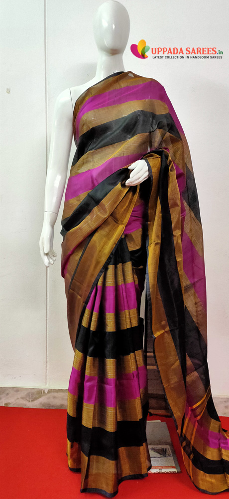 Uppada Stripes Saree Pink and Black