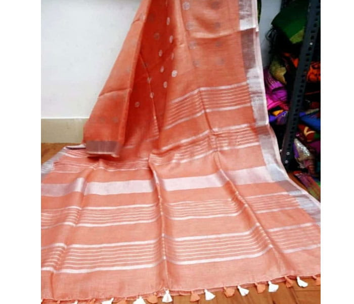 Peach Color Lenin Butta Design Saree