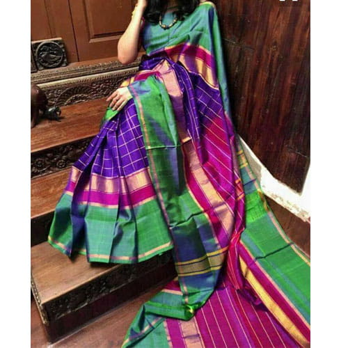 Uppada Special Checks Design Saree Violet Color