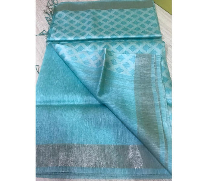 Lenin Silk Saree Sea Blue