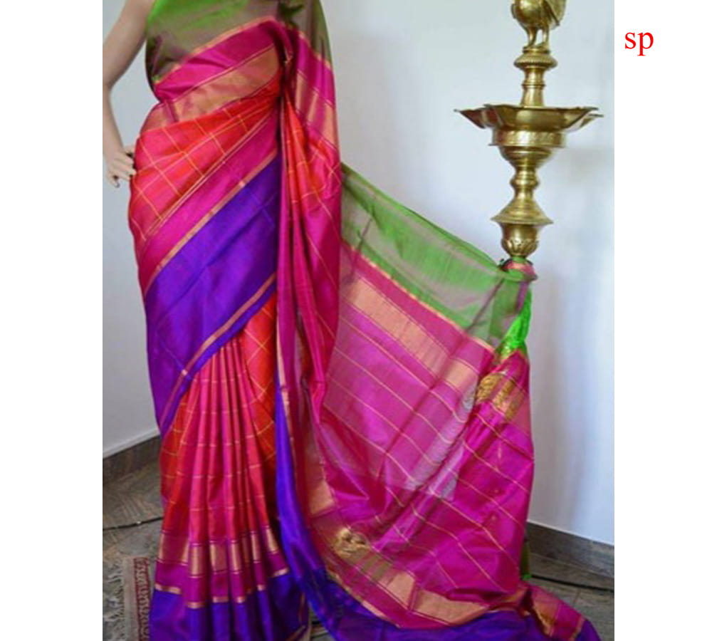 Uppada Pure Silk Checks Saree Pink