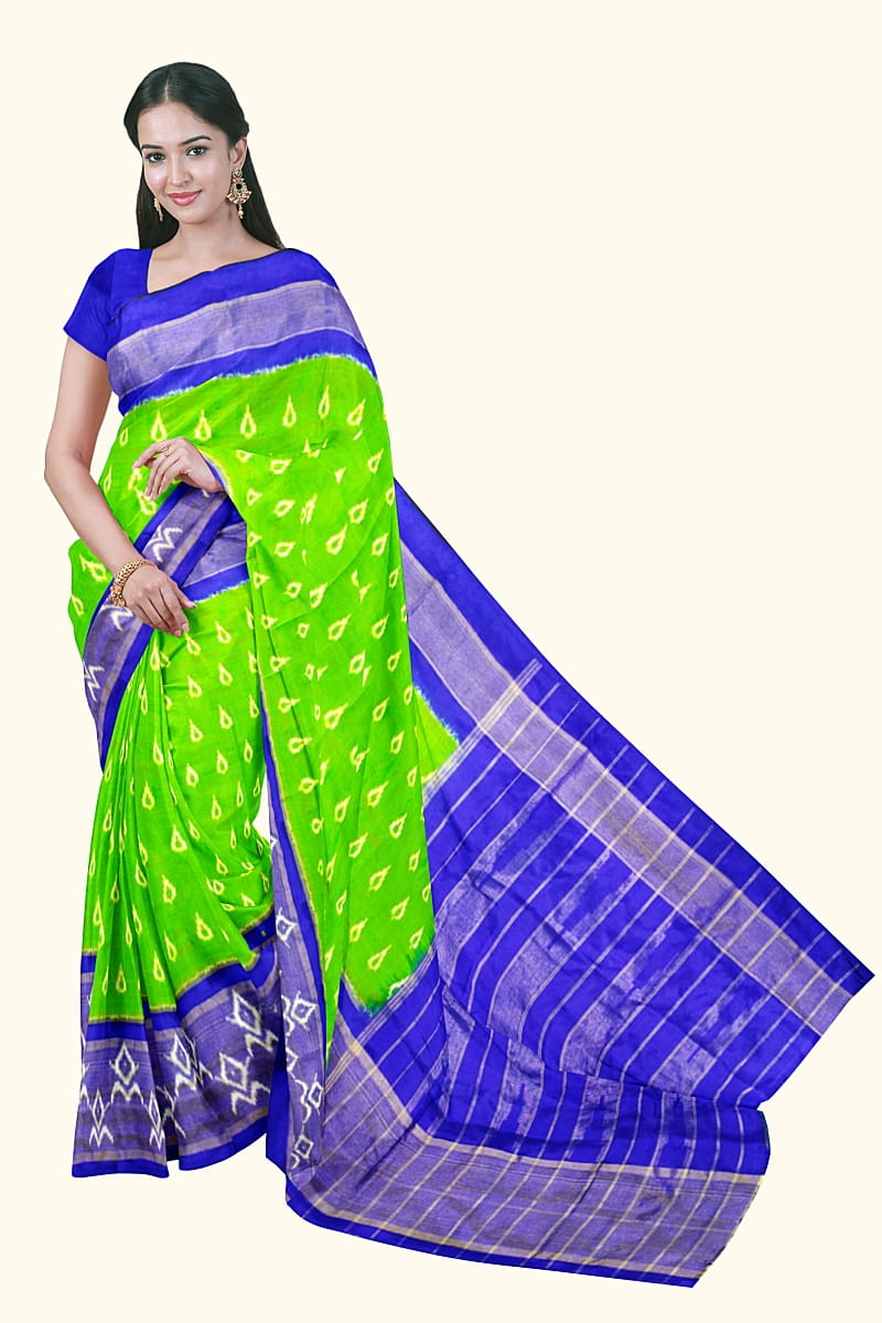 Green Color Ikkat Saree Latest