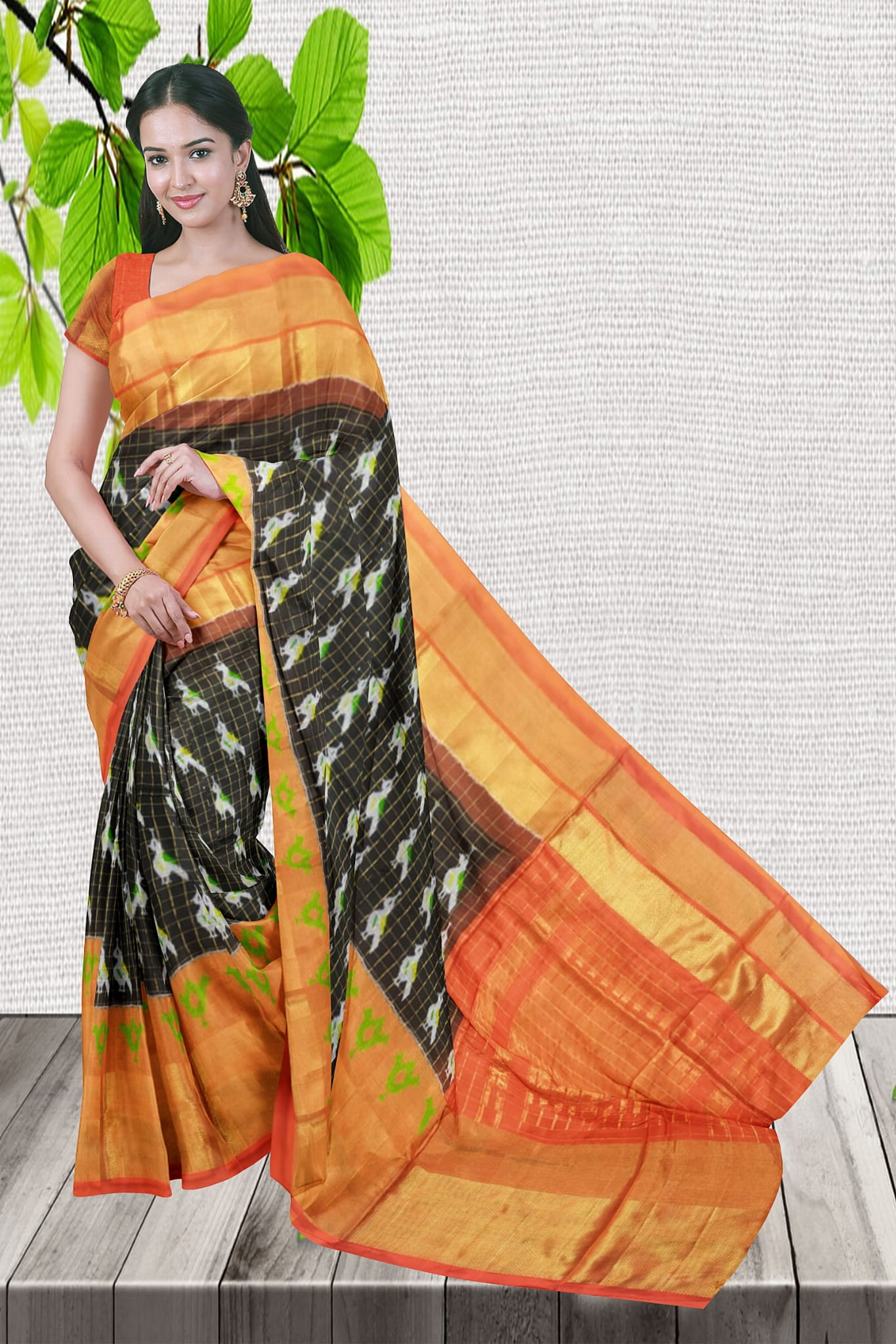 Black With Orange Color Ikkat Saree Latest