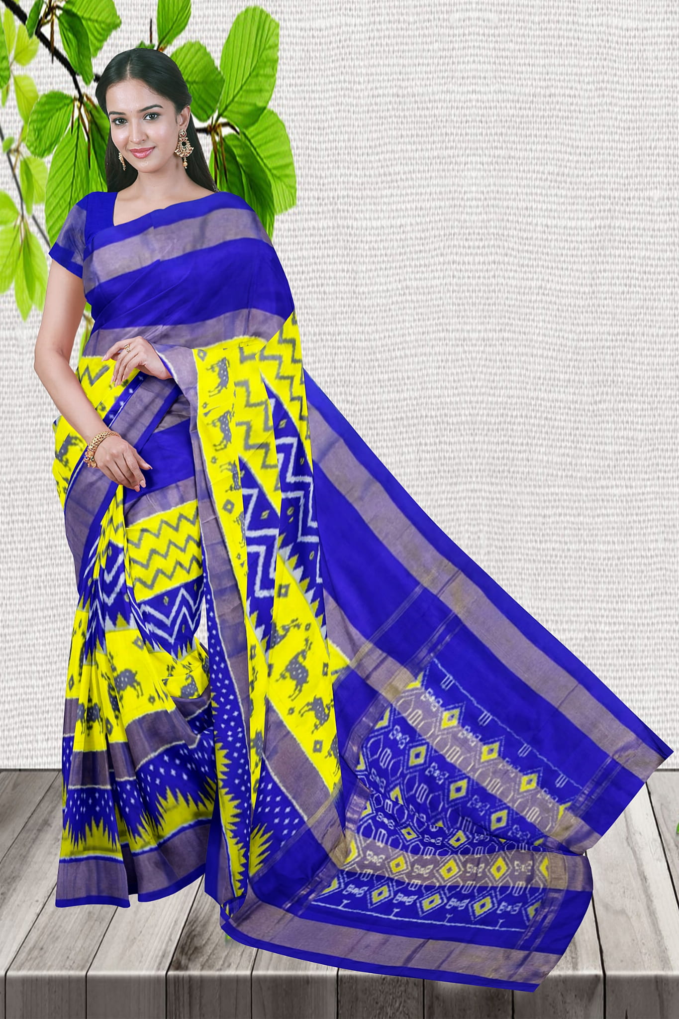 Good Looking Yellow With Blue Color Ikkat Saree