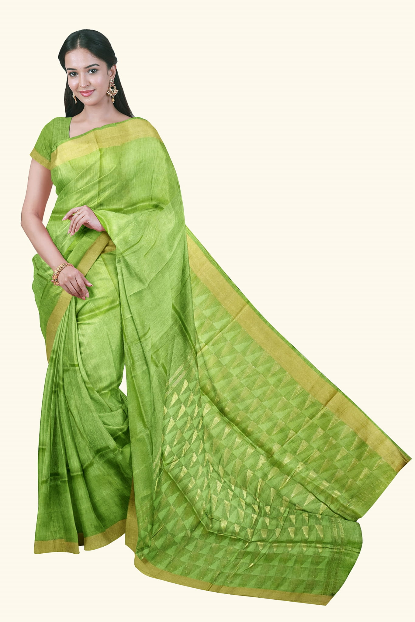 Lenin Silk Saree Light Green